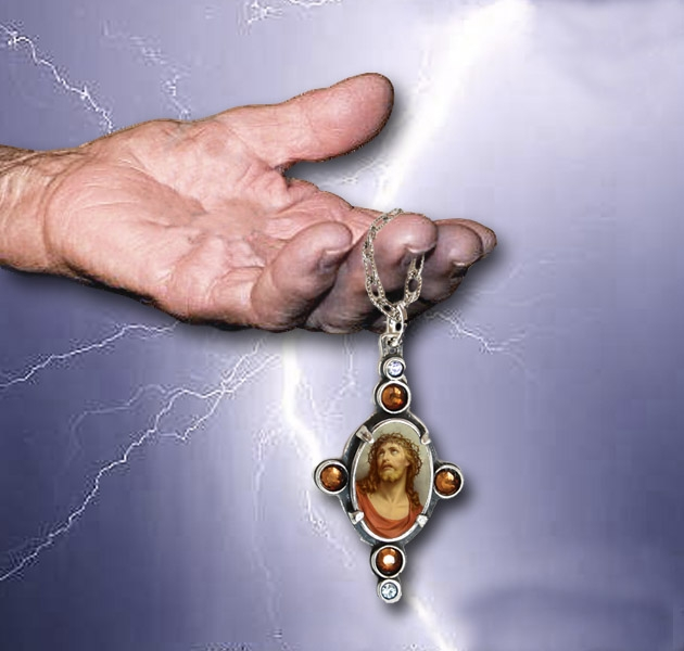 hand, necklace, lightning