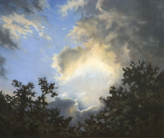 Clouds in sunlight, a painting.